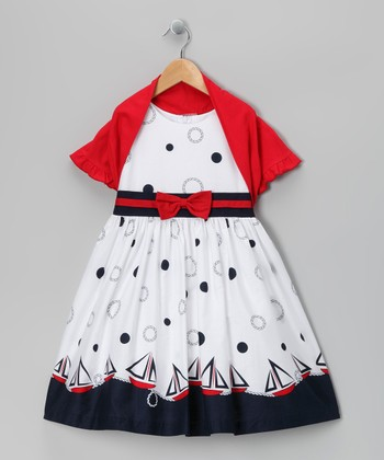 White Sailboat Dress & Red Shrug - Toddler & Girls