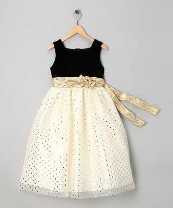 Ivory & Black Polka Dot Dress - Girls