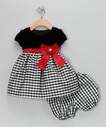 Black & Red Velvet Gingham Dress & Bloomers - Infant