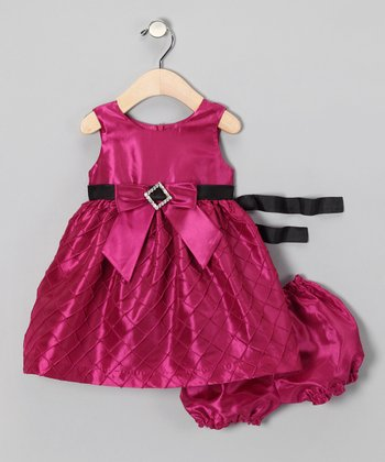 Fuchsia Rhinestone Dress & Bloomers - Infant