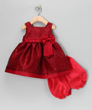 Red Bow Dress & Bloomers - Infant