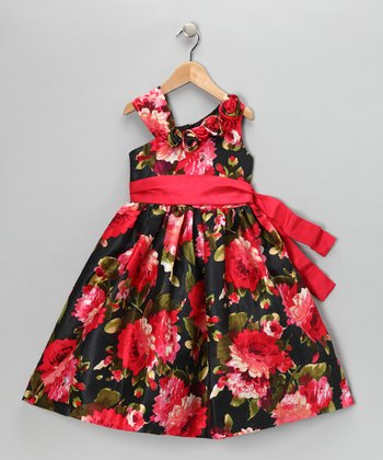 Red & Black Floral Dress - Toddler & Girls