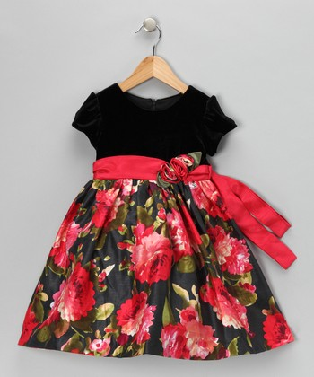 Red & Black Floral Velvet Dress - Toddler