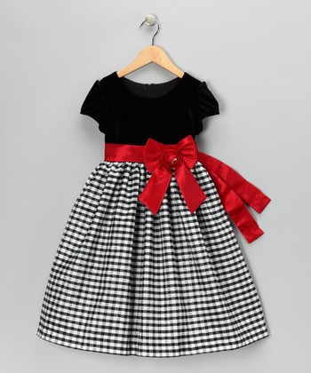 Black & Red Velvet Gingham Cap-Sleeve Dress - Toddler & Girls