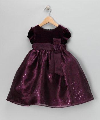 Plum Velvet Sequin Cap-Sleeve Dress - Toddler & Girls