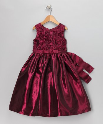 Maroon Rosette Dress - Infant, Toddler & Girls