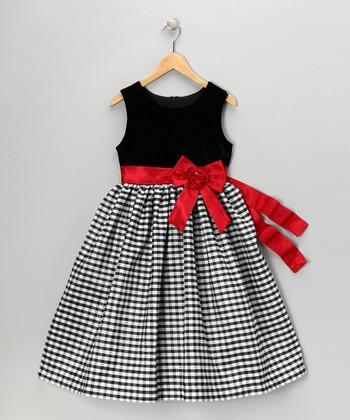 Black & Red Velvet Gingham Dress - Girls
