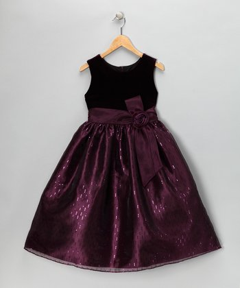 Plum Velvet Sequin Dress - Girls