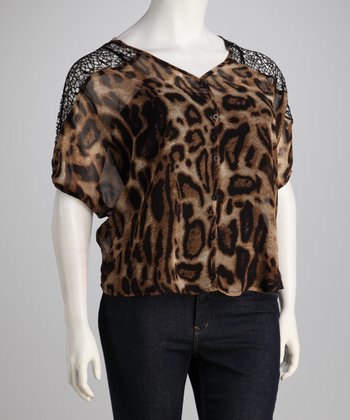 Brown Sheer Leopard Plus-Size Button-Up Top