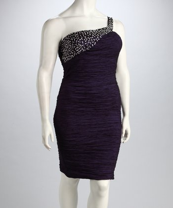 Purple Asymmetrical Dress - Plus