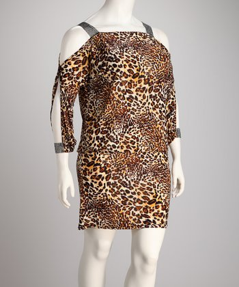 Brown Animal Plus-Size Cutout Dress