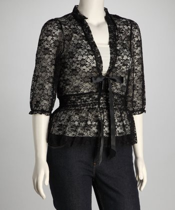 Black Lace V-Neck Top - Plus