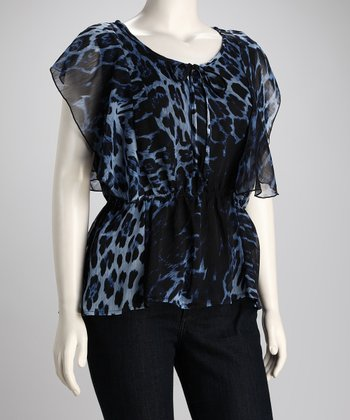 Blue Leopard Chiffon Plus-Size Top