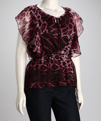 Burgundy Leopard Chiffon Plus-Size Top