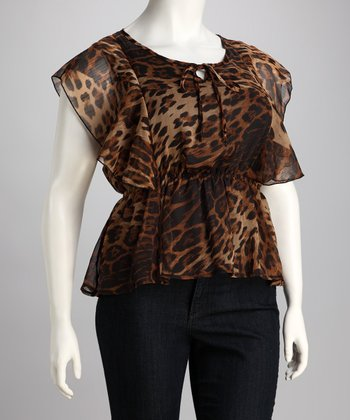Brown Leopard Chiffon Plus-Size Top
