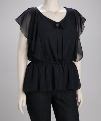 Black Chiffon Top - Plus