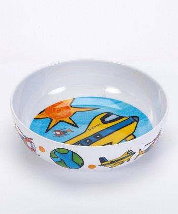 White & Teal Up Above the World Melamine Bowl