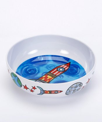 White & Blue 3 2 1 Blast Off Melamine Bowl