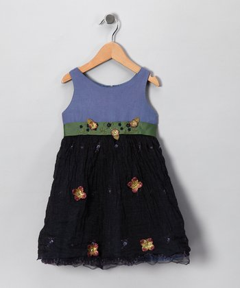 Navy Shimmer Flower Dress - Infant, Toddler & Girls