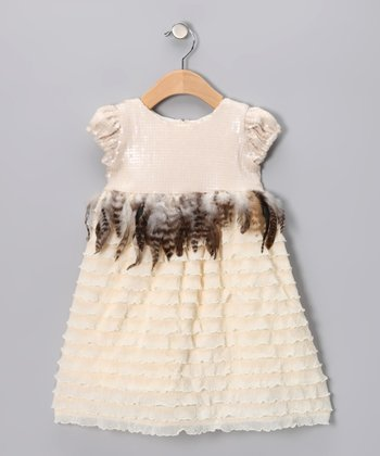 Cream Jackie O Puff-Sleeve Dress - Infant & Girls