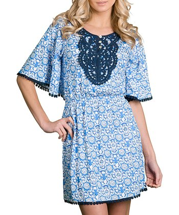 Blue Damask Crocheted Cover-Up