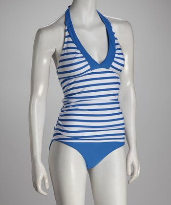 White & Blue Stripe Nautical Bliss Tankini Top - Women