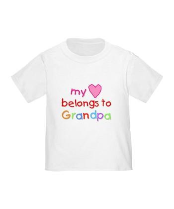 White 'My Heart Belongs to Grandpa' Tee - Toddler