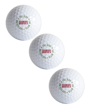White 'Grandpa' Golf Ball - Set of Three