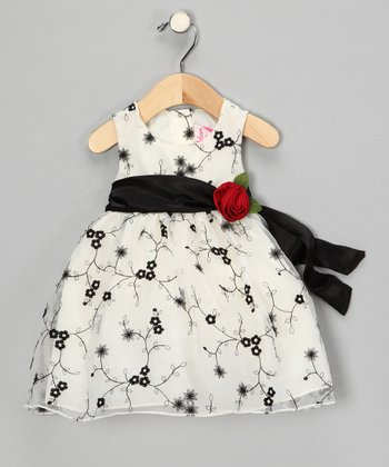Black & White Rose Embroidered Dress - Infant, Toddler & Girls