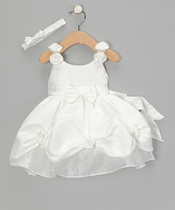 Cream Satin Bow Dress & Headband - Girls