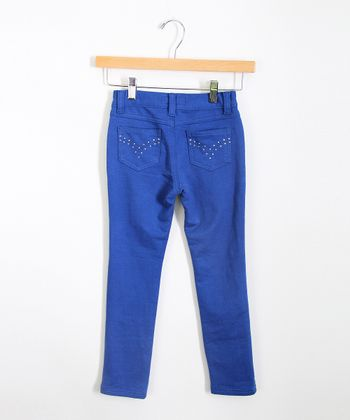 Royal Rhinestone Jeggings - Girls