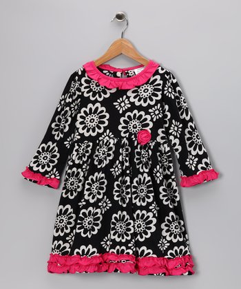 Calico Monkey Black & Pink Flower Ruffle Dress - Toddler & Girls