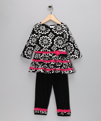 Black Flower Tunic & Leggings - Toddler & Girls