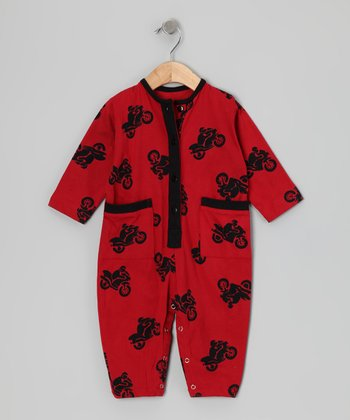 Calico Monkey Red Motorcycle Playsuit - Infant