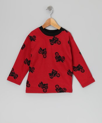 Calico Monkey Red Motorcycle Tee - Toddler & Boys