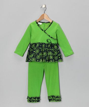 Green Flower Surplice Tunic & Leggings - Girls