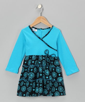 Turquoise Flower Surplice Dress - Toddler & Girls