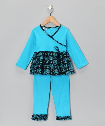 Aqua Surplice Tunic & Leggings - Toddler & Girls