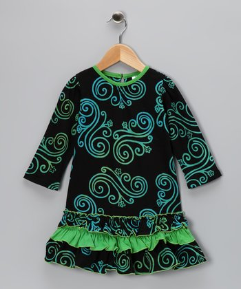 Black & Green Swirl Ruffle Dress - Toddler & Girls
