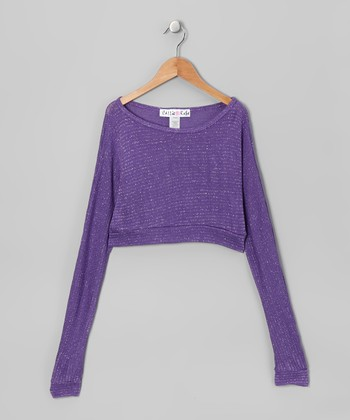 Purple Metallic Long-Sleeve Crop Top
