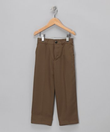 Taupe Flat-Front Pants - Infant & Toddler