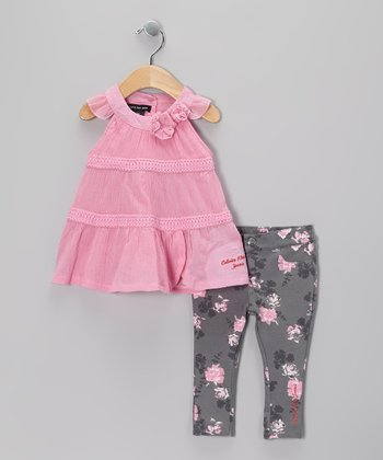 Pink Ruffle Tunic & Jeggings - Infant
