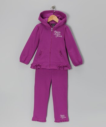 Purple Ruffle Zip-Up Hoodie & Pants - Infant