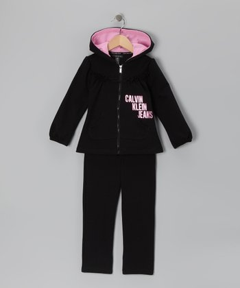 Black & Pink Zip-Up Hoodie & Pants - Infant