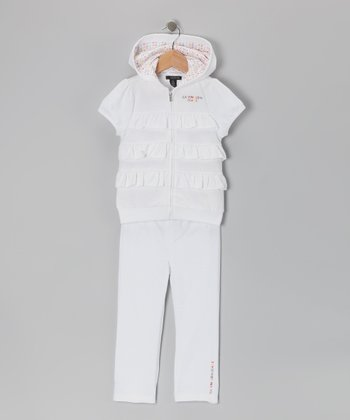 White Tiered Ruffle Zip-Up Hoodie & Pants - Toddler