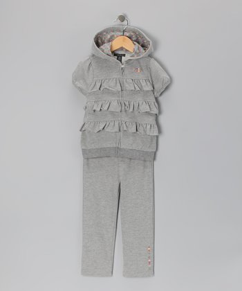 Light Gray Tiered Ruffle Zip-Up Hoodie & Pants - Toddler