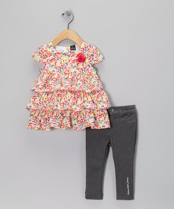 Pink & Yellow Floral Ruffle Tunic & Jeggings - Infant