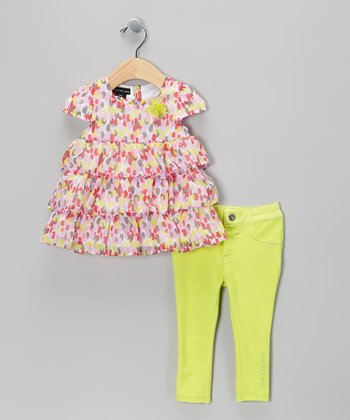 Pink Tiered Ruffle Tunic & Yellow Jeggings - Infant