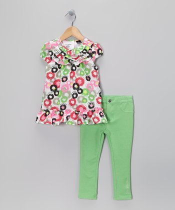 Pink & Green Floral Dress & Leggings - Infant