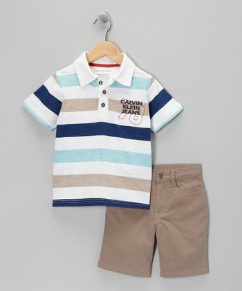 White & Blue Stripe Polo & Shorts - Infant & Toddler